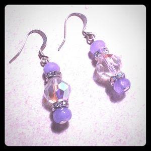 Purple Agate & Czech Earrings